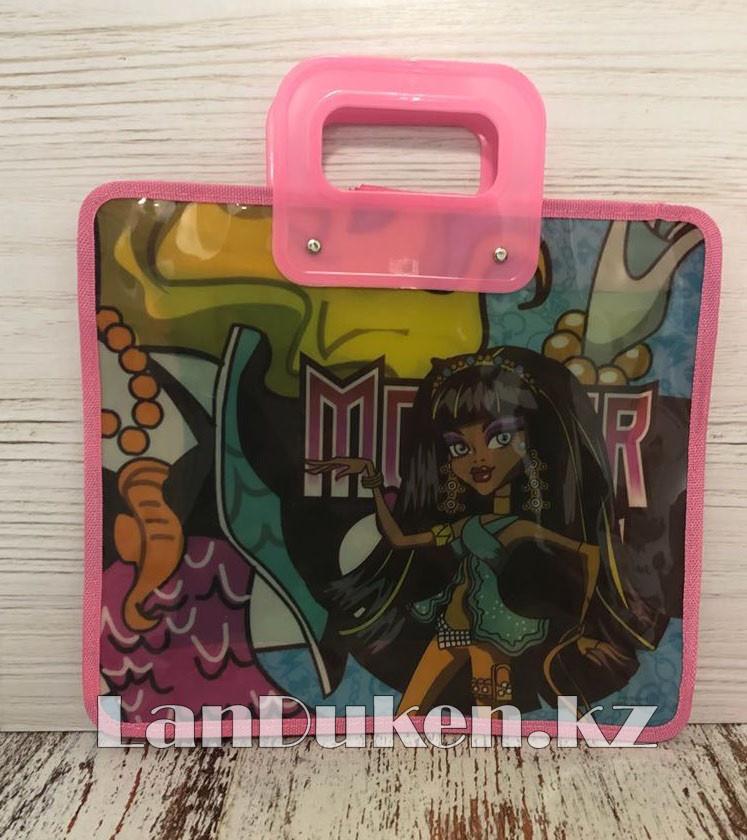 Детская папка-портфель с пластиковыми ручками Монстер Хай (Monster High) формат A4 розовая - фото 1