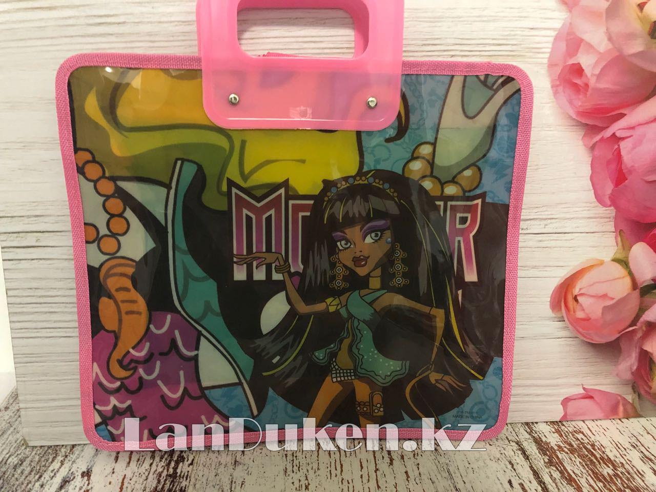 Детская папка-портфель с пластиковыми ручками Монстер Хай (Monster High) формат A4 розовая - фото 7