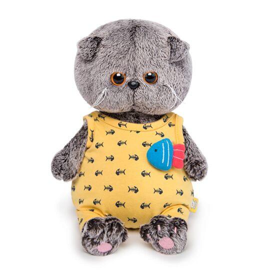 """Мягкая игрушка """"Басик Baby"""" в желтом комбинезоне с рыбкой, 20 см"""
