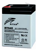 Батарея необслуживаемая (аккумулятор) Ritar RT645 (6V 4,5 Ah), Емкость аккумулятора: 4,5 Ah, Разъемы: F1/F2