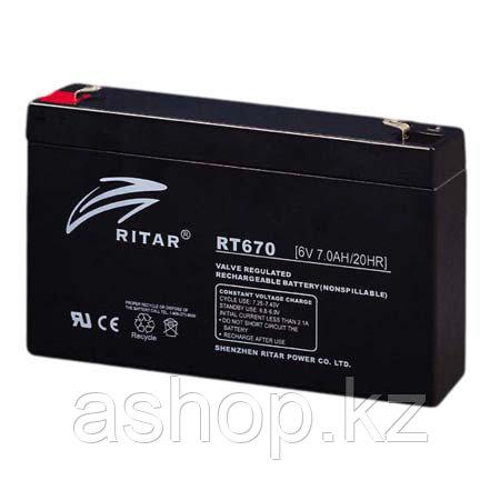 Батарея необслуживаемая (аккумулятор) Ritar RT670 (6V 7 Ah), Емкость аккумулятора: 7 Ah, Разъемы: F1/F2