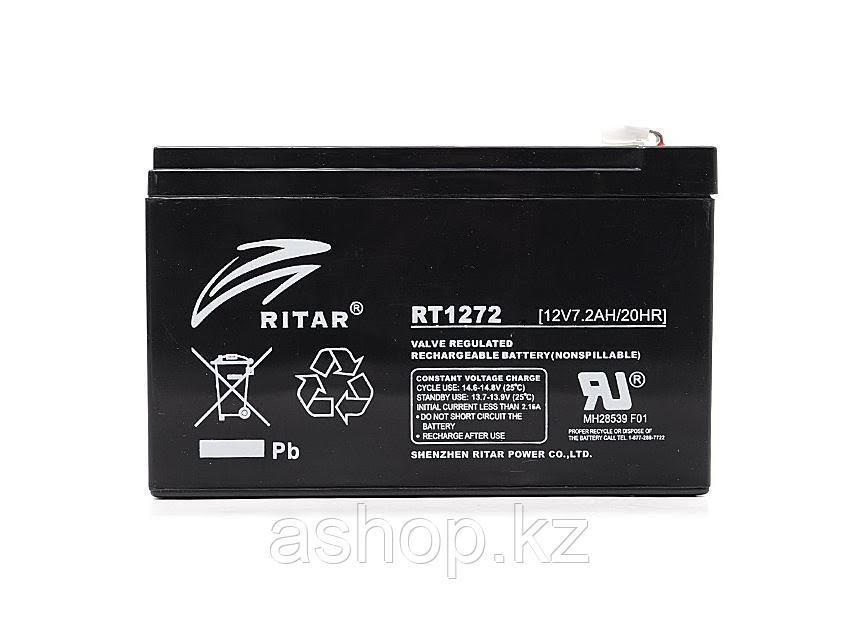 Батарея необслуживаемая (аккумулятор) Ritar RT1272 (12V 7,2 Ah), Емкость аккумулятора: 7,2 Ah, Разъемы: F1/F2