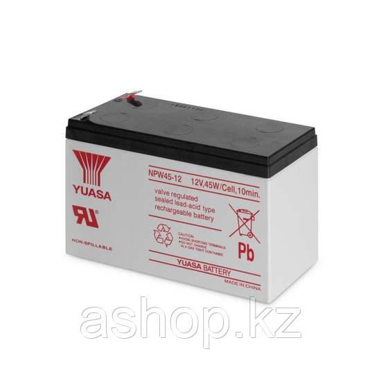 Батарея необслуживаемая (аккумулятор) YUASA NPW 45-12 (12V 9 Ah), Емкость аккумулятора: 9 Ah
