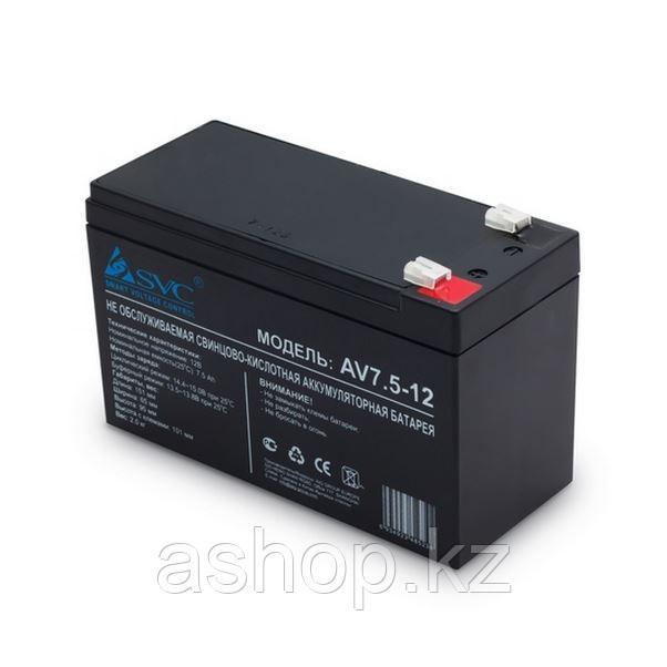 Батарея необслуживаемая (аккумулятор) SVC AV 12V 7A (12V 7 Ah), Емкость аккумулятора: 7 Ah, Разъемы: F1/F2
