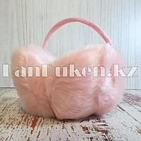 Меховые наушники с ободком сзади светло-розовые