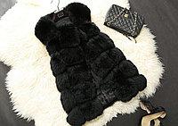 Меховая жилетка, чёрная