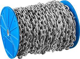Цепь короткозвенная DIN 766 оцинкованная сталь, d=4мм, L=70м,