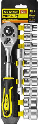 """Набор STAYER """"STANDARD"""": Торцовые головки (1/2"""") на пластиковом рельсе, трещотка, удлинитель, 10-24мм, 12 пред, фото 2"""