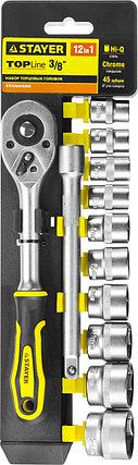 """Набор STAYER """"STANDARD"""": Торцовые головки (3/8"""") на пластиковом рельсе, трещотка, удлинитель, 10-24мм, 12 пред, фото 2"""