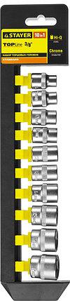 """Набор STAYER """"STANDARD"""": Торцовые головки (3/8"""") на пластиковом рельсе, 8-19мм, 10 предметов, фото 2"""
