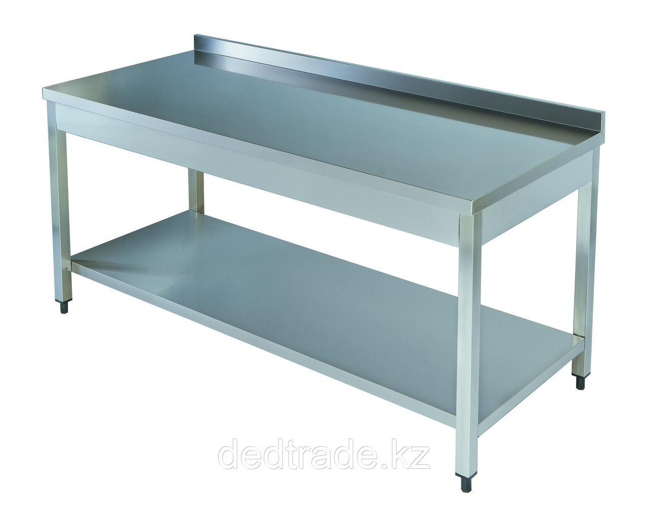 Рабочий стол с полкой нержавеющая сталь Размеры 1800*600*850 мм