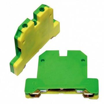 Клемма заземления на DIN-рейку EK-2.5 (КЗД-10ЖЗ) 10 мм² (желто-зеленая)