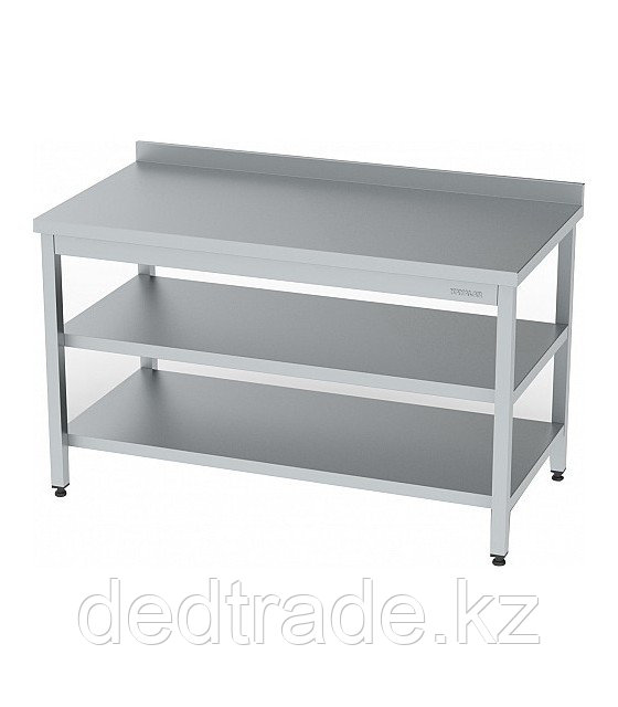 Рабочий стол с полкой и средней полкой нержавеющая сталь Размеры 1600*600*850 мм