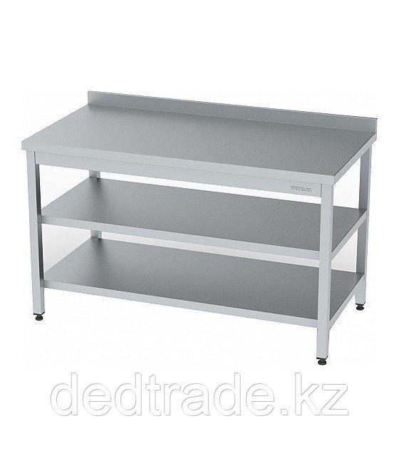 Рабочий стол с полкой и средней полкой нержавеющая сталь Размеры 1800*600*850 мм