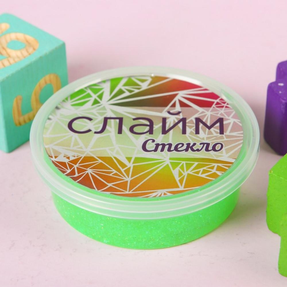 """Слайм """"Стекло"""" с переливающимися неоновыми блестками, зеленый 100 гр"""
