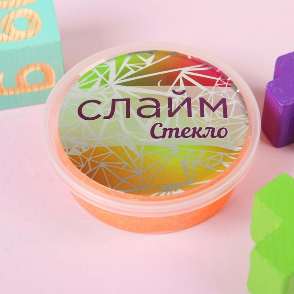 """Слайм """"Стекло"""" с переливающимися неоновыми блестками, оранжевый 100 гр"""