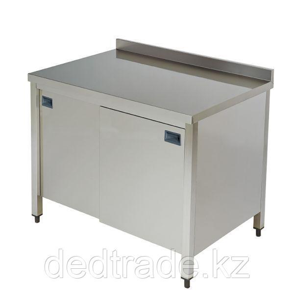 Рабочий стол с средней полкой и раздвижной дверью нержавеющая сталь  Размеры 1400*600*850 мм