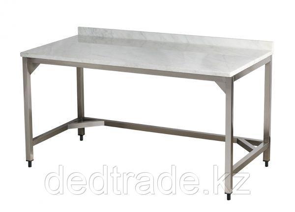 Рабочие столы с мраморной столешницей без полки нержавеющая сталь Размеры 1600*700*850 мм