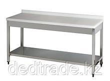 Рабочий стол с полиэтиленовой столешницей с нижней полкой нержавеющая сталь Размеры 1200*600*850 мм
