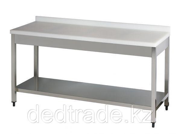 Рабочий стол с полиэтиленовой столешницей с нижней полкой нержавеющая сталь Размеры 1800*600*850 мм