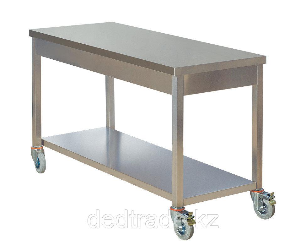 Передвижной рабочий стол с нижней полкой нержавеющая сталь Размеры 1400*600*850 мм