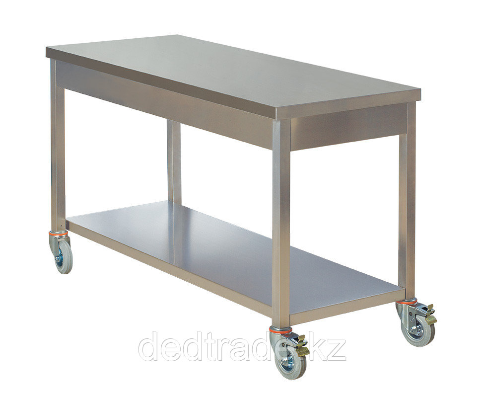 Передвижной рабочий стол с нижней полкой нержавеющая сталь Размеры 1800*600*850 мм