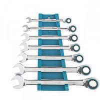 Набор ключей комбинированных с трещоткой, 8 - 19 мм, 7шт., реверсивные, CrV GROSS