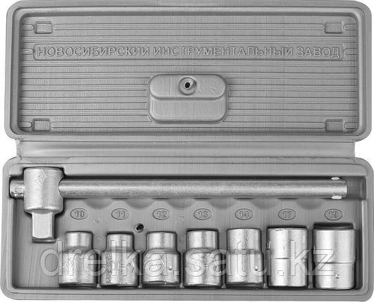 """Набор торцовых головок НИЗ """"Шоферский инструмент №1"""", 1/2"""", сталь 40Х, в пластиковом кейсе, 8 предметов, фото 2"""