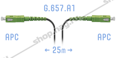Патчкорд оптический FTTH SC/APC, кабель 604-02-01, 25 метров