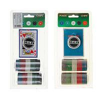 Набор для покера Poker Chips: колода карт 1 шт., 25 фишек, в блистере, фото 1