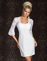 Белое платье с гипюровым балеро слитное