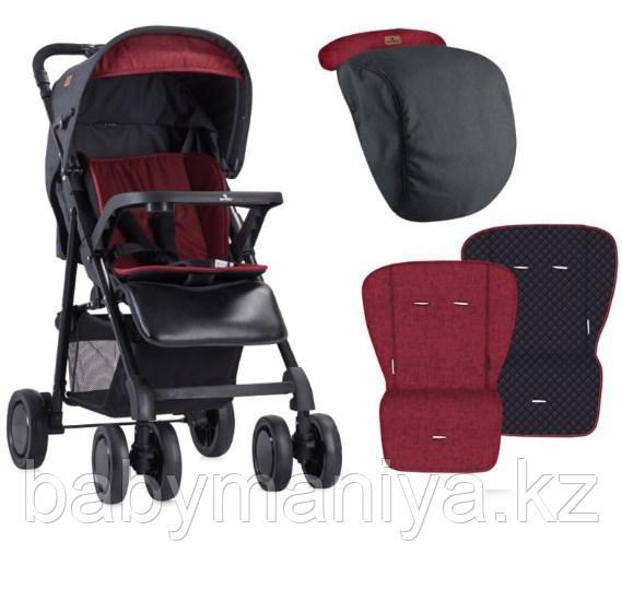 Коляска прогулочная Lorelli Aero + накидка на ножки Черный-красный/ Black&Red 1800