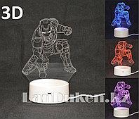 Светодиодный 3D ночник Железный Человек (Iron Man) LED 3 цветных режима 21 см