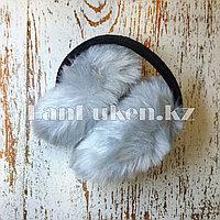 Меховые наушники складные серые (01)