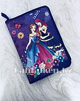 """Детская папка на молнии А4 пластиковая с тканевой окантовкой """"Принцессы с бабочками"""" (фиолетовый)"""