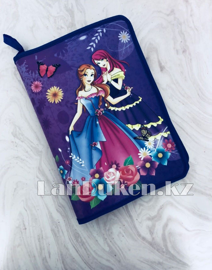 """Детская папка на молнии А4 пластиковая с тканевой окантовкой """"Принцессы с бабочками"""" (фиолетовый) - фото 1"""