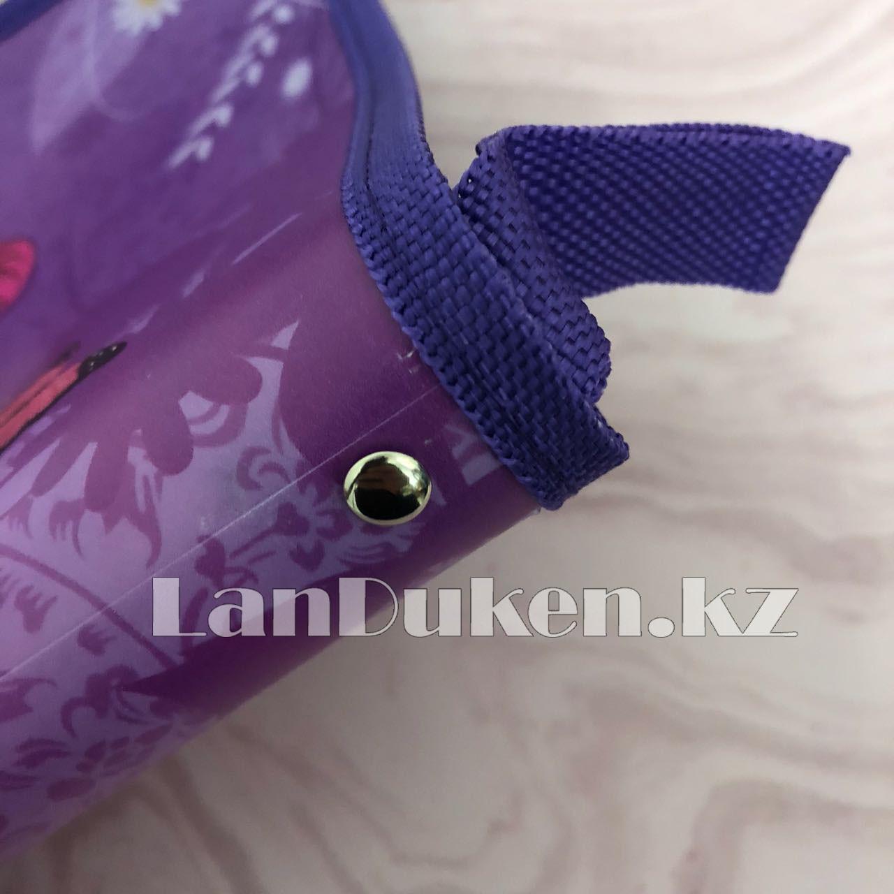 """Детская папка на молнии А4 пластиковая с тканевой окантовкой """"Принцессы с бабочками"""" (фиолетовый) - фото 3"""