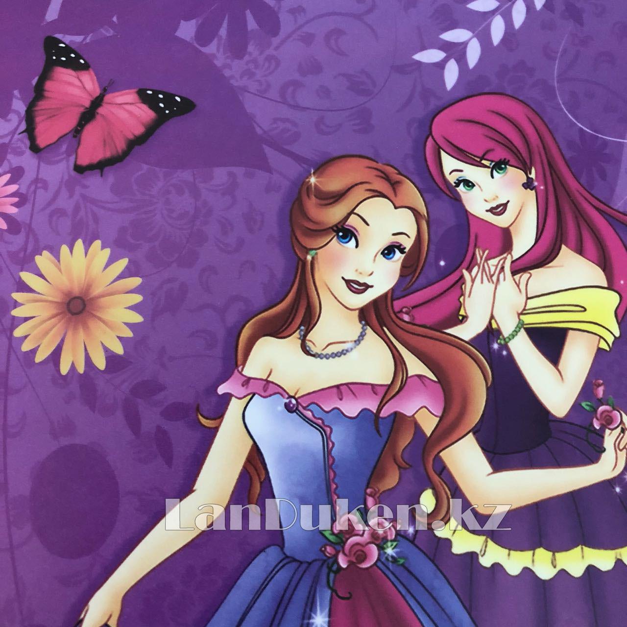 """Детская папка на молнии А4 пластиковая с тканевой окантовкой """"Принцессы с бабочками"""" (фиолетовый) - фото 5"""