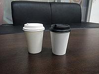 Бумажный стакан с крышкой, 350мл, белый, однослойный