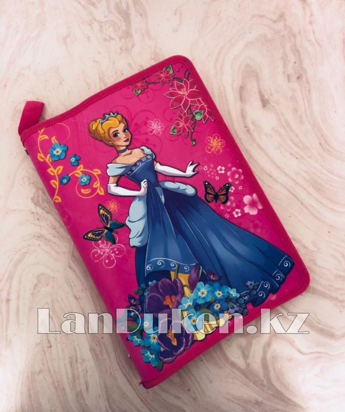 """Детская папка на молнии А4 пластиковая с тканевой окантовкой """"Принцесса с цветами"""" (розовая) - фото 1"""