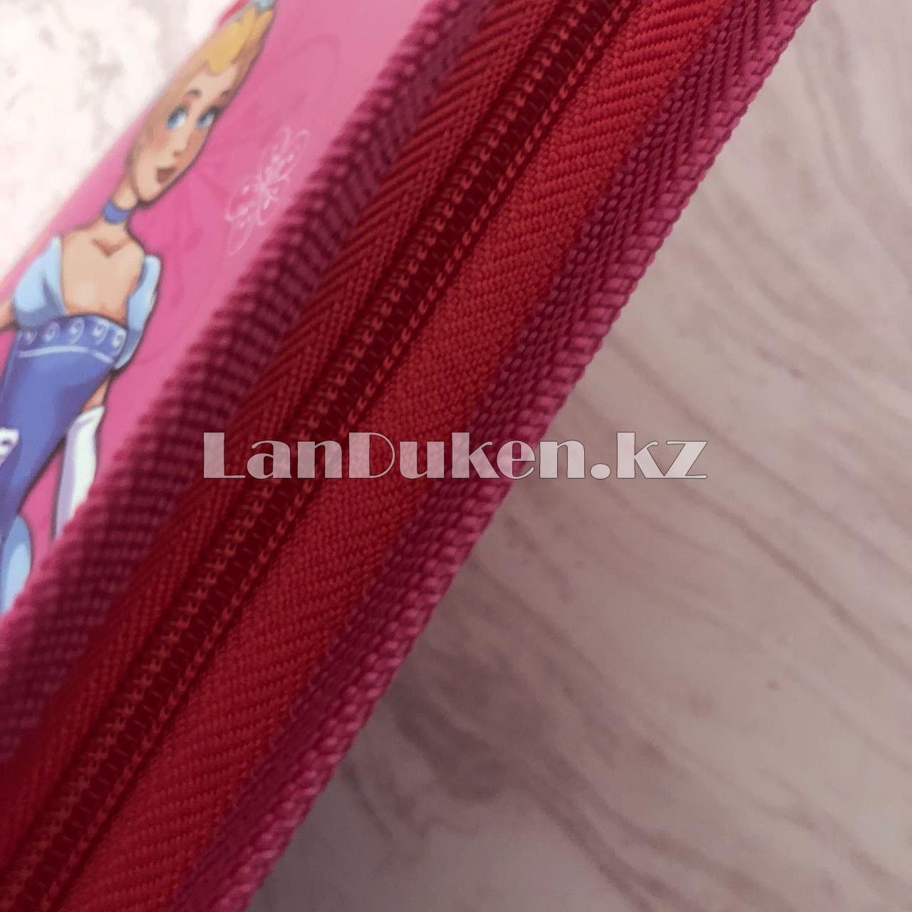 """Детская папка на молнии А4 пластиковая с тканевой окантовкой """"Принцесса с цветами"""" (розовая) - фото 2"""
