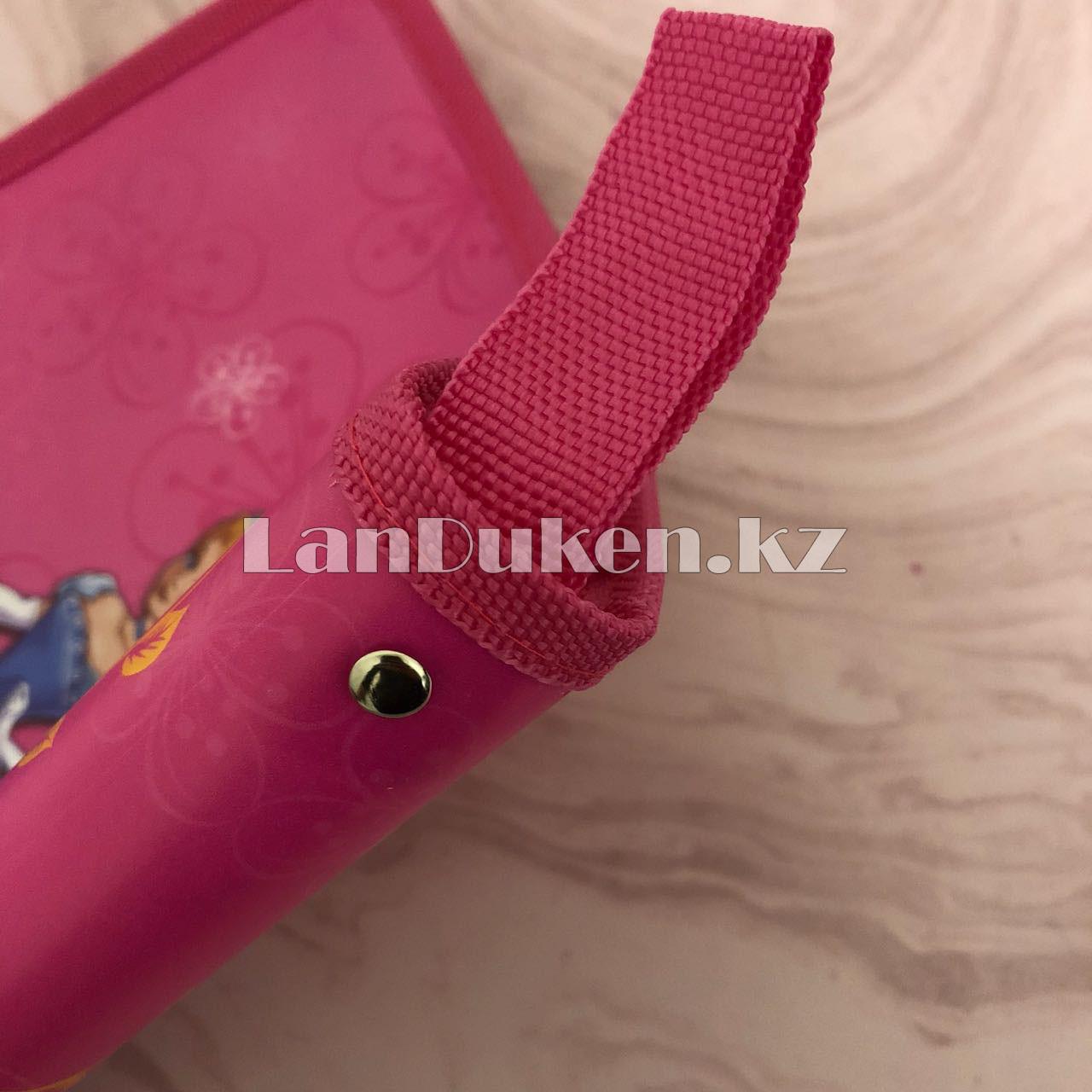 """Детская папка на молнии А4 пластиковая с тканевой окантовкой """"Принцесса с цветами"""" (розовая) - фото 3"""