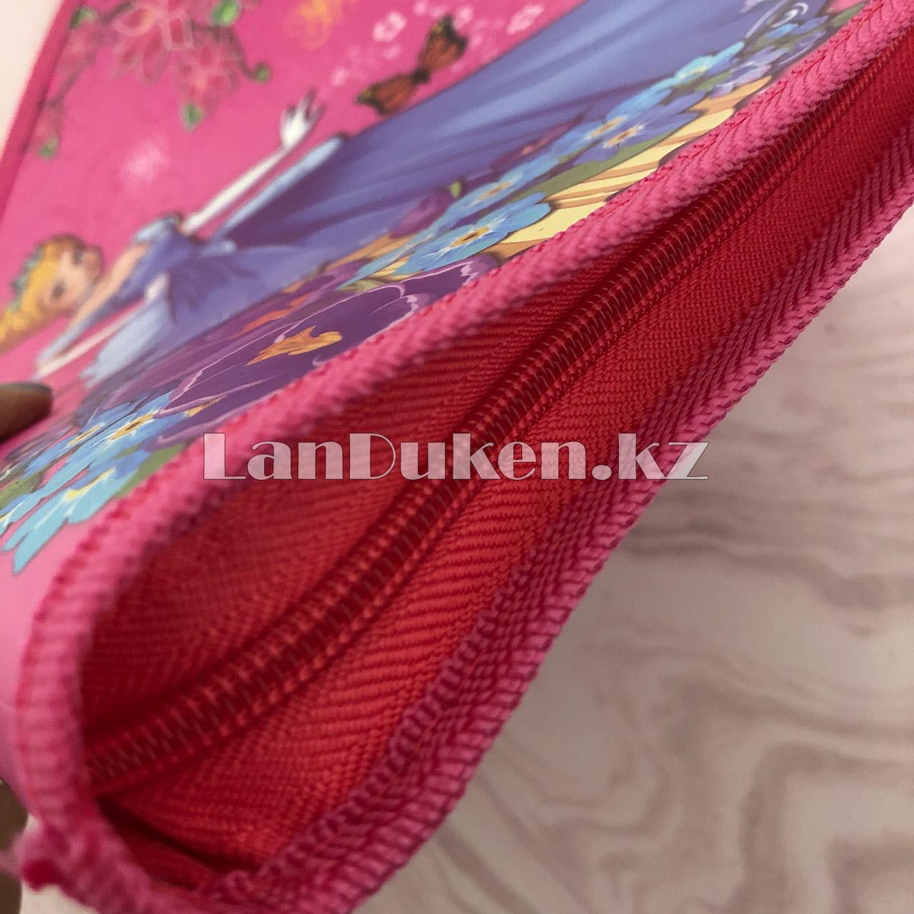 """Детская папка на молнии А4 пластиковая с тканевой окантовкой """"Принцесса с цветами"""" (розовая) - фото 8"""