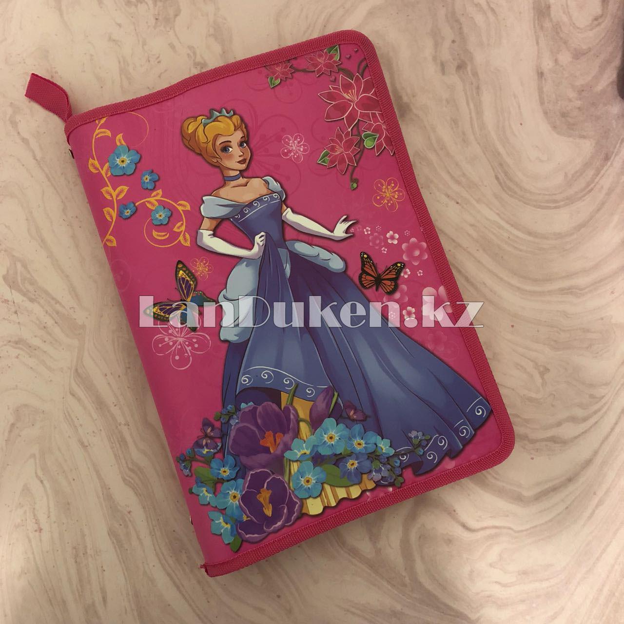 """Детская папка на молнии А4 пластиковая с тканевой окантовкой """"Принцесса с цветами"""" (розовая) - фото 7"""