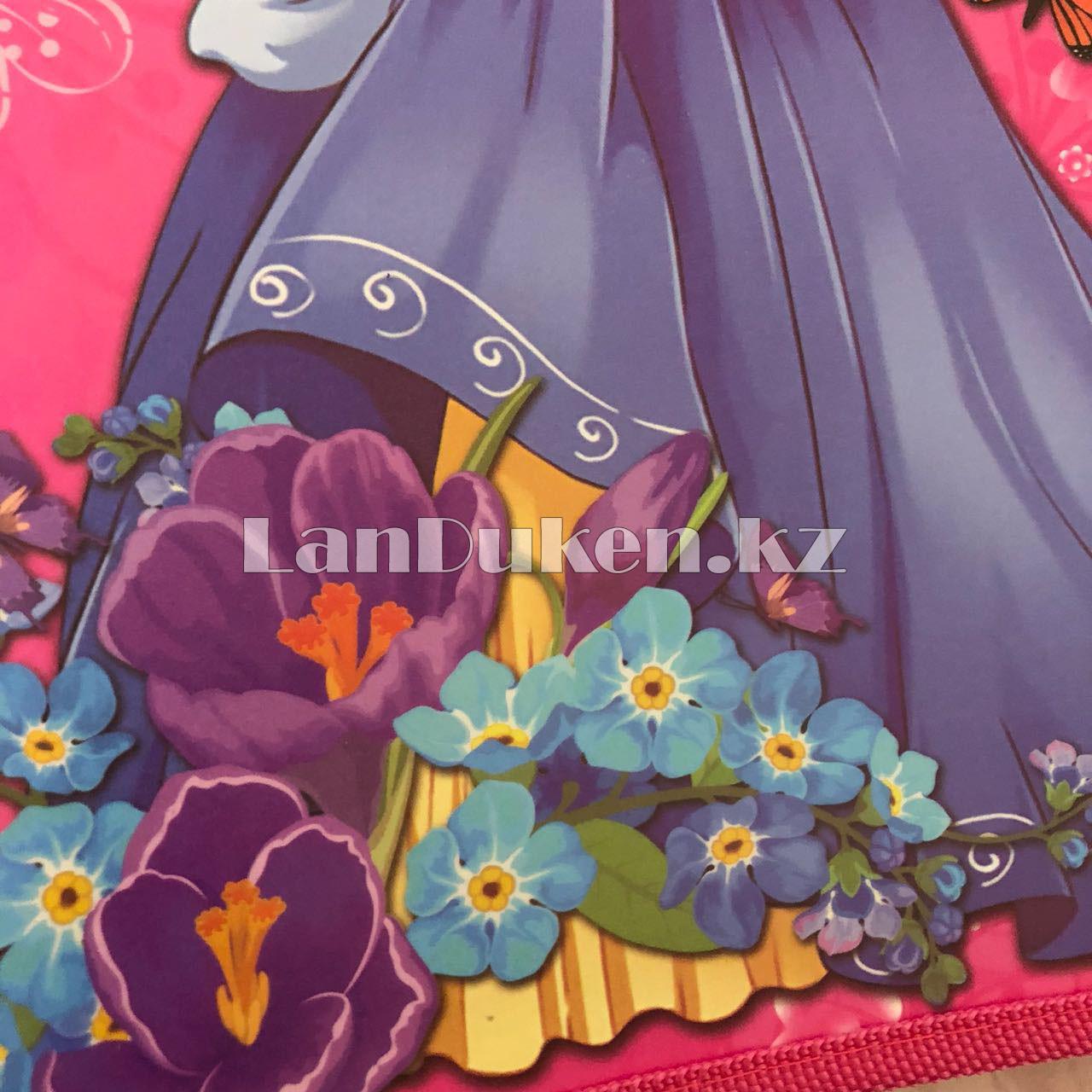 """Детская папка на молнии А4 пластиковая с тканевой окантовкой """"Принцесса с цветами"""" (розовая) - фото 6"""