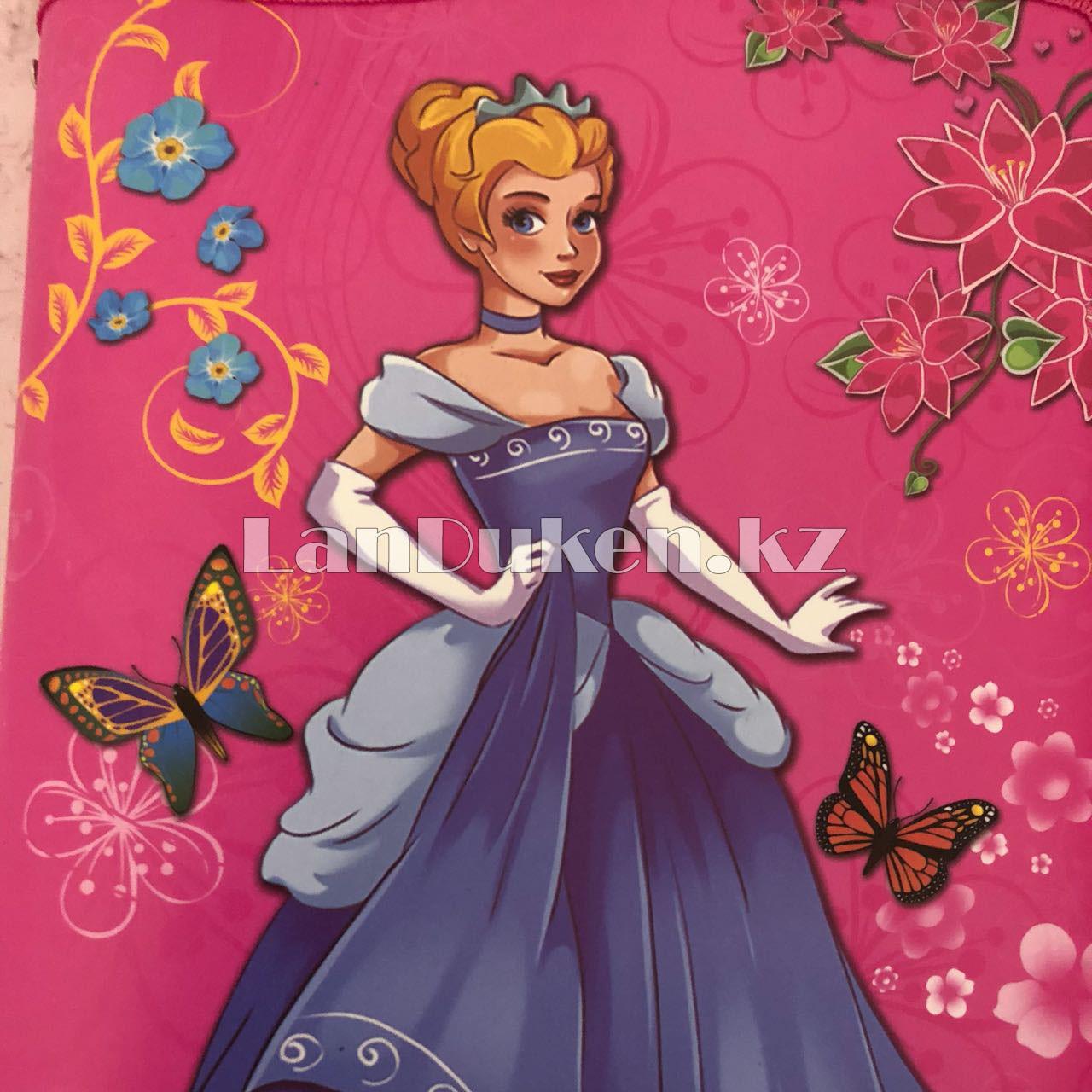 """Детская папка на молнии А4 пластиковая с тканевой окантовкой """"Принцесса с цветами"""" (розовая) - фото 4"""
