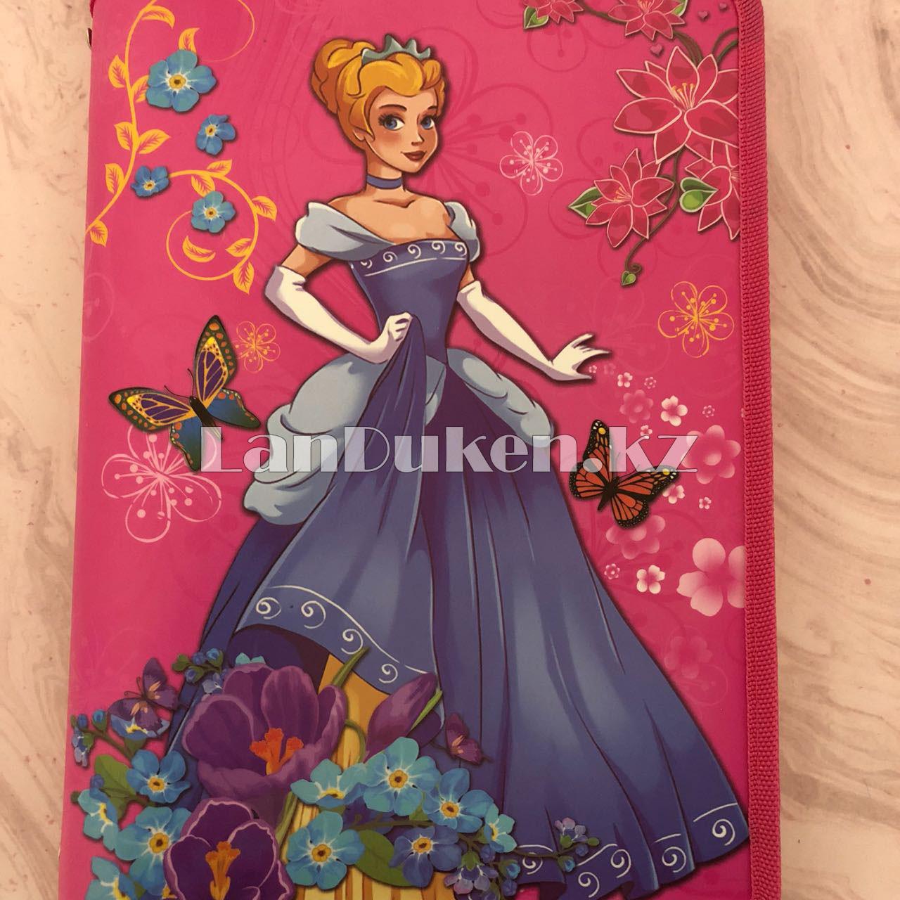 """Детская папка на молнии А4 пластиковая с тканевой окантовкой """"Принцесса с цветами"""" (розовая) - фото 5"""
