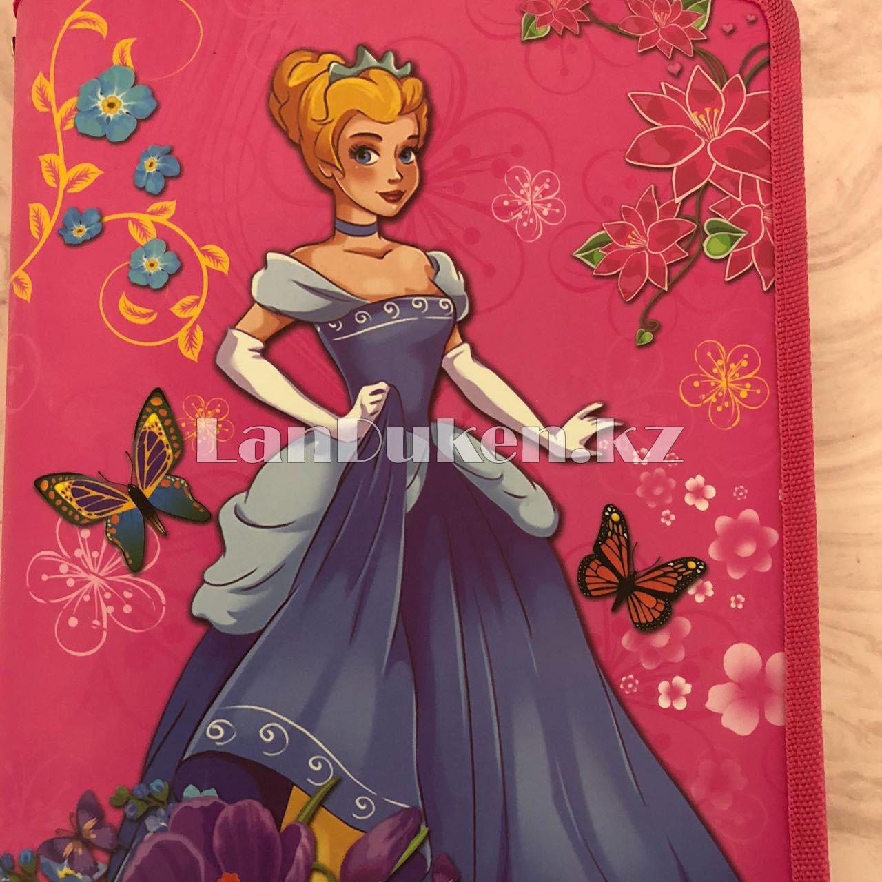 """Детская папка на молнии А4 пластиковая с тканевой окантовкой """"Принцесса с цветами"""" (розовая) - фото 9"""