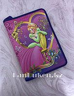 """Детская папка на молнии А4 пластиковая с тканевой окантовкой """"Принцесса на стуле"""" (фиолетовый)"""