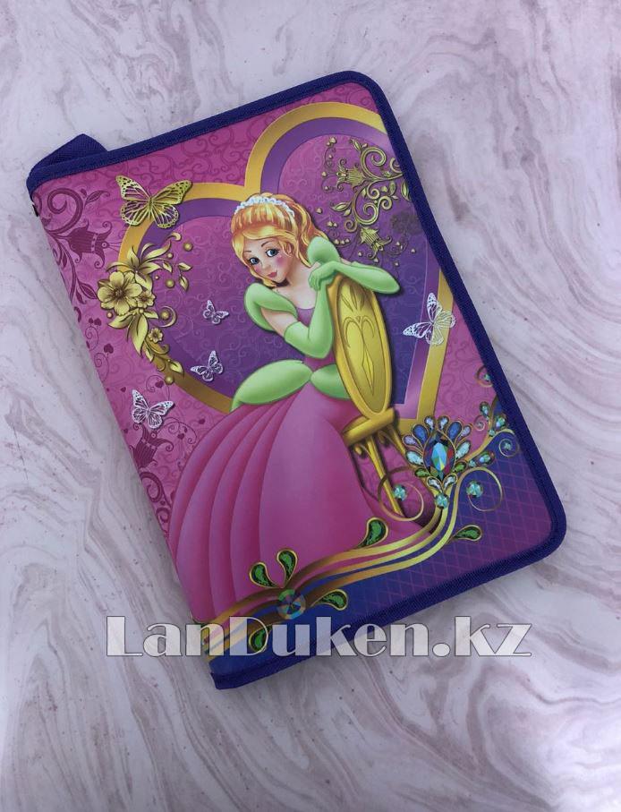 """Детская папка на молнии А4 пластиковая с тканевой окантовкой """"Принцесса на стуле"""" (фиолетовый) - фото 1"""
